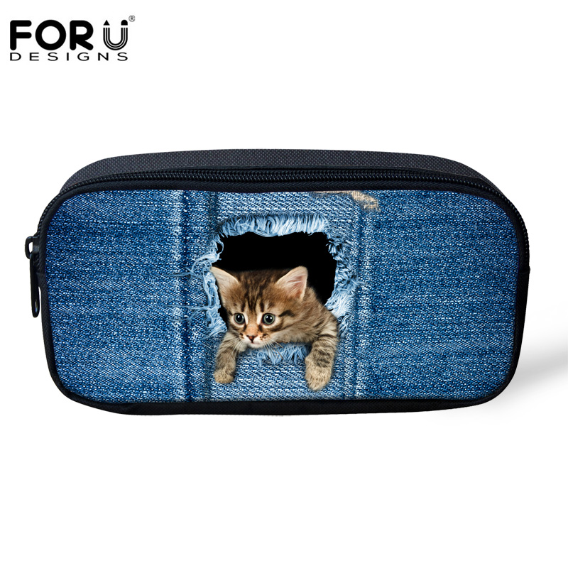 FORUDESIGNS Funny Cat Dog Denim Pencil Bags for Boys Girls Make up Cosmetic Cases Jeans Pet Pen Box Kids School Office Supplies  multifunction cosmetic cases women make up bag punk skull print kids boys pencil pen bag for school boys girls stationary holder
