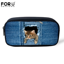 FORUDESIGNS Funny Cat Dog Denim Pencil Bags for Boys Girls Make up Cosmetic Cases Jeans Pet Pen Box Kids School Office Supplies