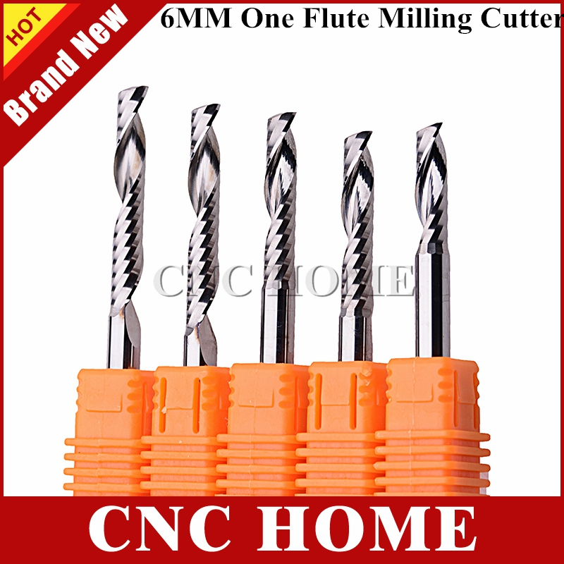 5pcs 6mm shank Single Flute Carbite spiral End Mill Cutter CNC Bit 30mm CEL