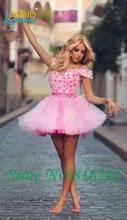 2016 neue Schönen Weg Von der schulter Rosa Tüll Mini-ballkleid Cocktailkleider Schatz Mit Blumen Sleeveless Homecoming Kleider