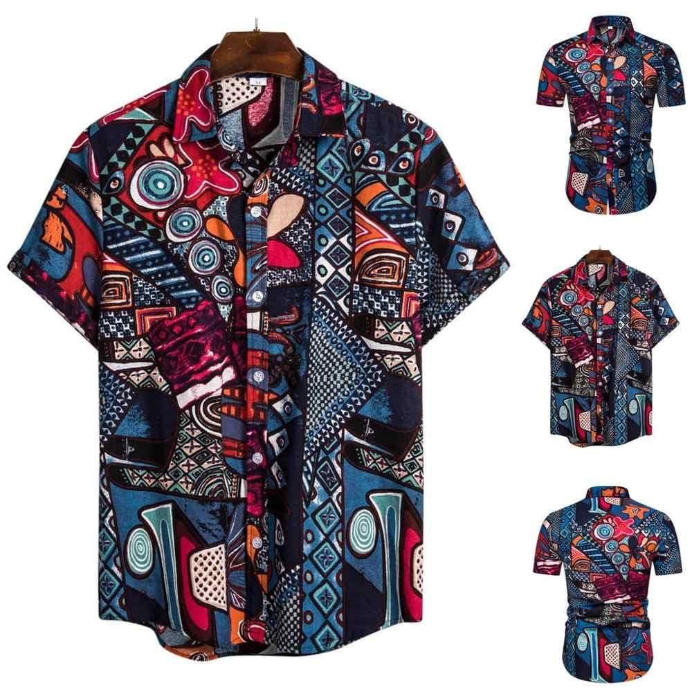 Size XL Vintage Mens water print  Hawaiian cotton short sleeve shirt