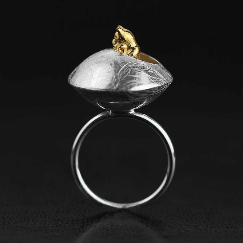 INATURE 925 Sterling Silver Moda Anel de Gato Gato em Vaso Anéis Ajustáveis para As Mulheres Presentes da Jóia