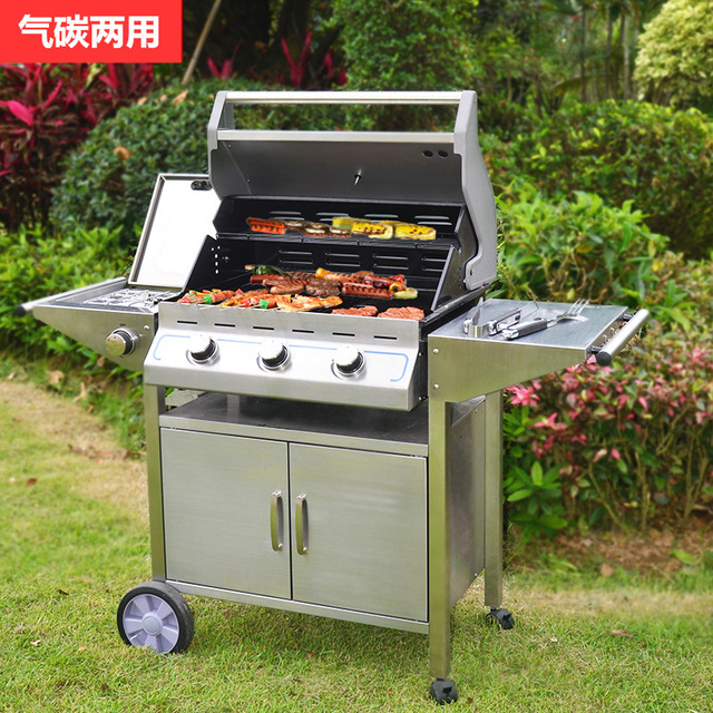 Outdoors Gas Charcoal Barbecue Oven Gaiabbq Furnace Stainless Steel Frame Carbon Dual Purpose