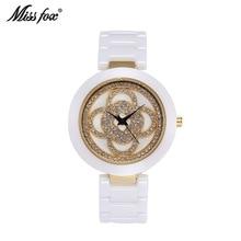 Venda superior miss raposa marca feminina branco preto cerâmica relógios de quartzo luxo alta qualidade relógio moda casual relogio feminino