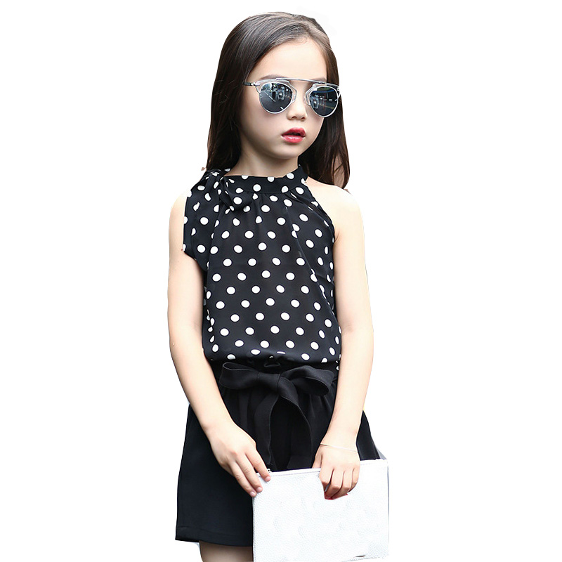 Girls Clothing Sets Chiffon Polka Dot Vests & Shorts 2 Pcs Summer Cartoon T-Shirts For Girls Kids Outfits 4 5 6 7 9 11 12 Years 2017 summer girls sets clothes short sleeve chiffon baby girls sets for kids big girls t shirts and stripe shorts children suits