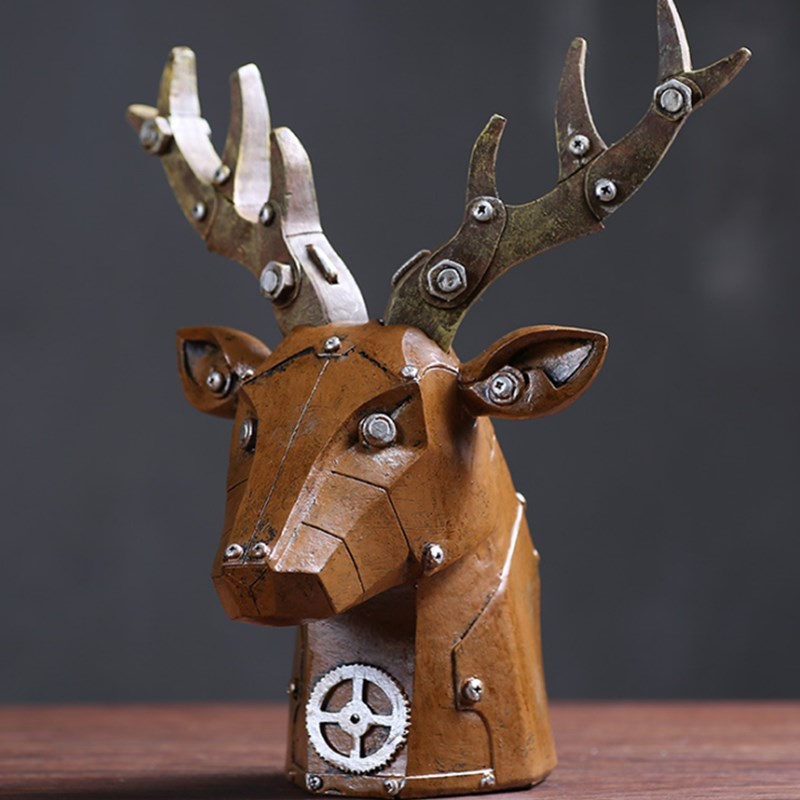 Retro European Animals Deer Heads Horses Mechanical Three-Dimensional Creative Living Room Decoration Ornaments Resin Crafts