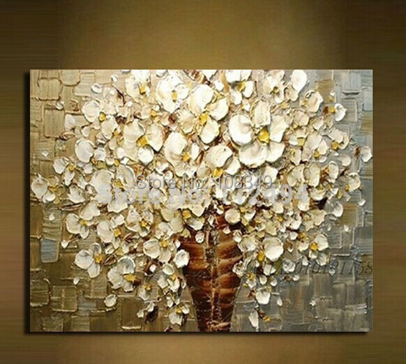 Hand Painted Canvas Oil Paintings On Frame Wall Painting White Flowers Home Decoration Large