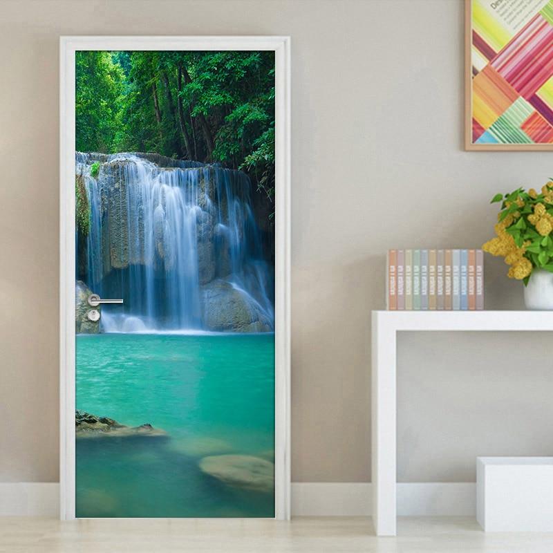 Waterfall Living Room Bedroom 3D Door Sticker Waterproof Wall Paper Door Stickers PVC Self-adhesive Mural Wallpaper Home Decor