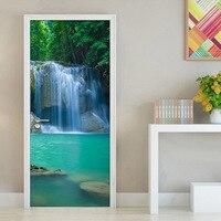 Waterfall Living Room Bedroom 3D Door Sticker Waterproof Wall Paper Door Stickers PVC Self Adhesive Mural