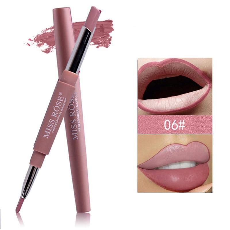 MISS ROSE Pro Double-end Sexy Red Color Velvet Matte Lipstick Lip Liner Pencils Nude Pigments Easy To Wear Makeup Lip Stick Pen