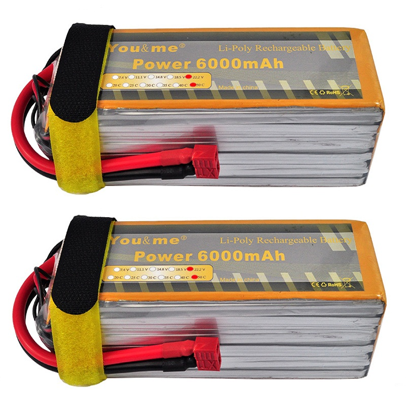 2pcs/lot You&me 6000mAh 22.2V 50C Max 100C 6S Li-Poly Battery for RC helicopter quadcopter страпон toyz4lovers черный bestseller 2 for me 1 for you