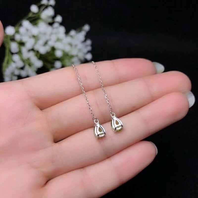 SHILOVEM 925 סטרלינג כסף פרידוט עגילי קלאסי נשים תכשיטים חתונה צמח מתנה סיטונאי חדש be050706agg