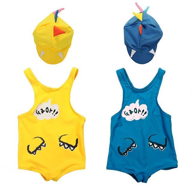 Los niños Muchachas de Los Muchachos del traje de baño con forma de Dinosaurio del traje de Baño + gorro de baño traje de baño traje de Baño de los niños 1-6Years viejo F2