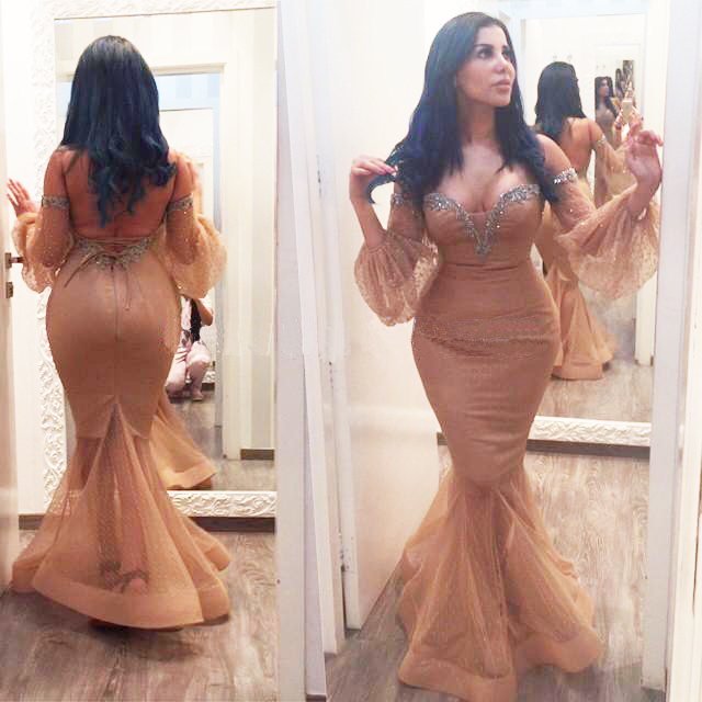 9de872e8184 Champagne Mermaid Evening Dresses With beading Sexy Puffy Long Sleeve Prom  Dress Woman Party Gown robes