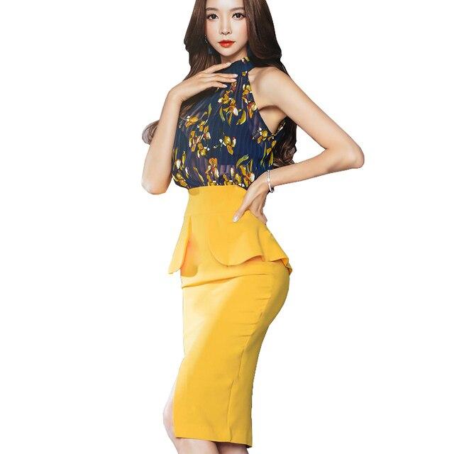 Korean Lady Fake 2 Pieces Designer Clothes Halter Floral Chiffon Patchwork Ruffle Split Wrap Dress Bodycon Bandage Sheath Dress