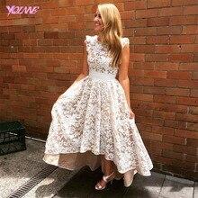 Vestido De Festa 2017 Fashion High Low Spitze Prom Kleider Abendkleid V Zurück Reißverschluss Asymmetrische Frauen Kleider