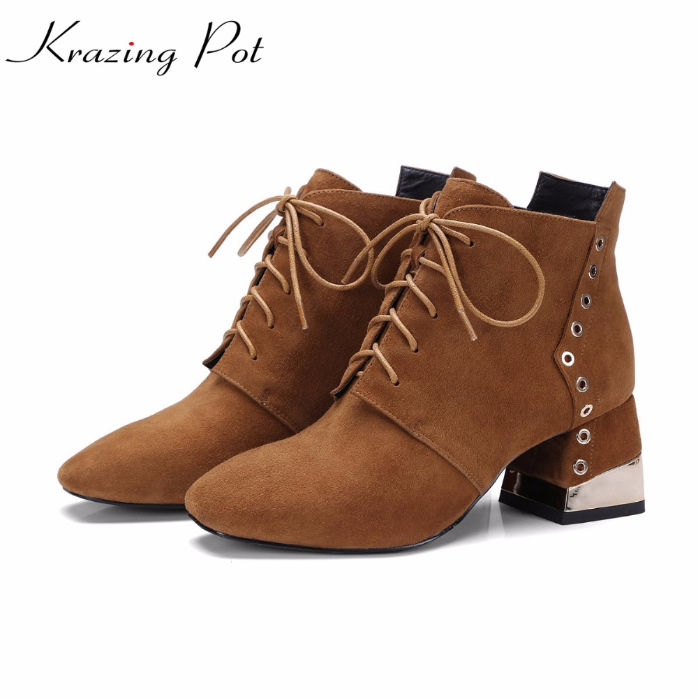 Krazing Pot 2018 cow suede rivets decorations square toe high heels fashion shoes handmade women office lady ankle boots L6f1 krazing pot cow suede diamond bling winter shoes solid zipper square thick high heels plus size fashion fashion ankle boots l12
