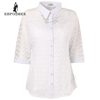 Blanc de mode d'été blouses chemises dentelle motif stretch Trois Quarts chemise à manches féminin grande taille femmes chemise