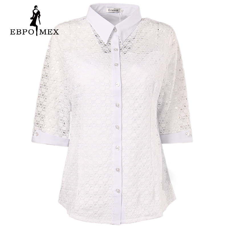 White fashion summer blouses shirts lace pattern stretch for Three quarter length shirt