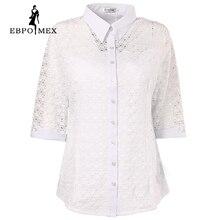 Весной новые модели,Короткий рукав ,Белая рубашка шелк Стрейч с гипюром,Женская Рубашка ,Европейская версия блузок