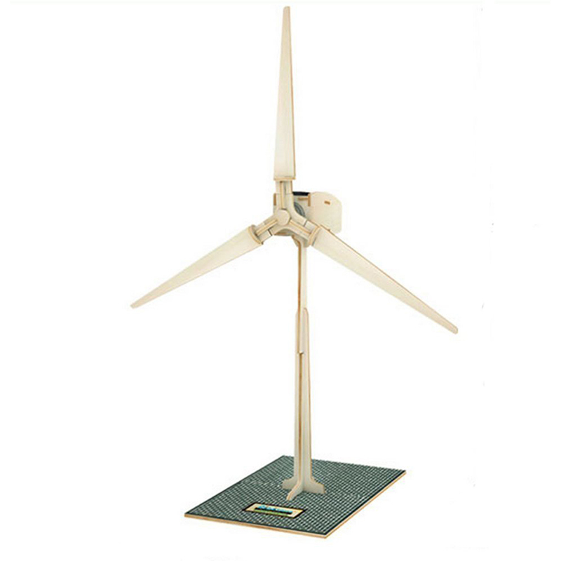 New Arriver Wooden Solar Energy 3D Powered Windmill DIY Puzzle Jigsaw Building Block Educational Toy Gift for Kid Child -45 diy wooden building block 65pcs kid puzzle game assemble toy early education tool