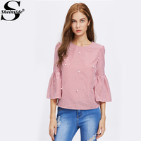 Sheinside Flare Sleeve Pearl Embellished Keyhole Blouse Red Striped Round Neck 3/4 Sleeve Button Cute Top Autumn Elegant Blouse