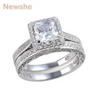 2 8 CT Princess 925 Sterling Silver AAA Wedding Band Engagement Ring Set Jewelry Size 6