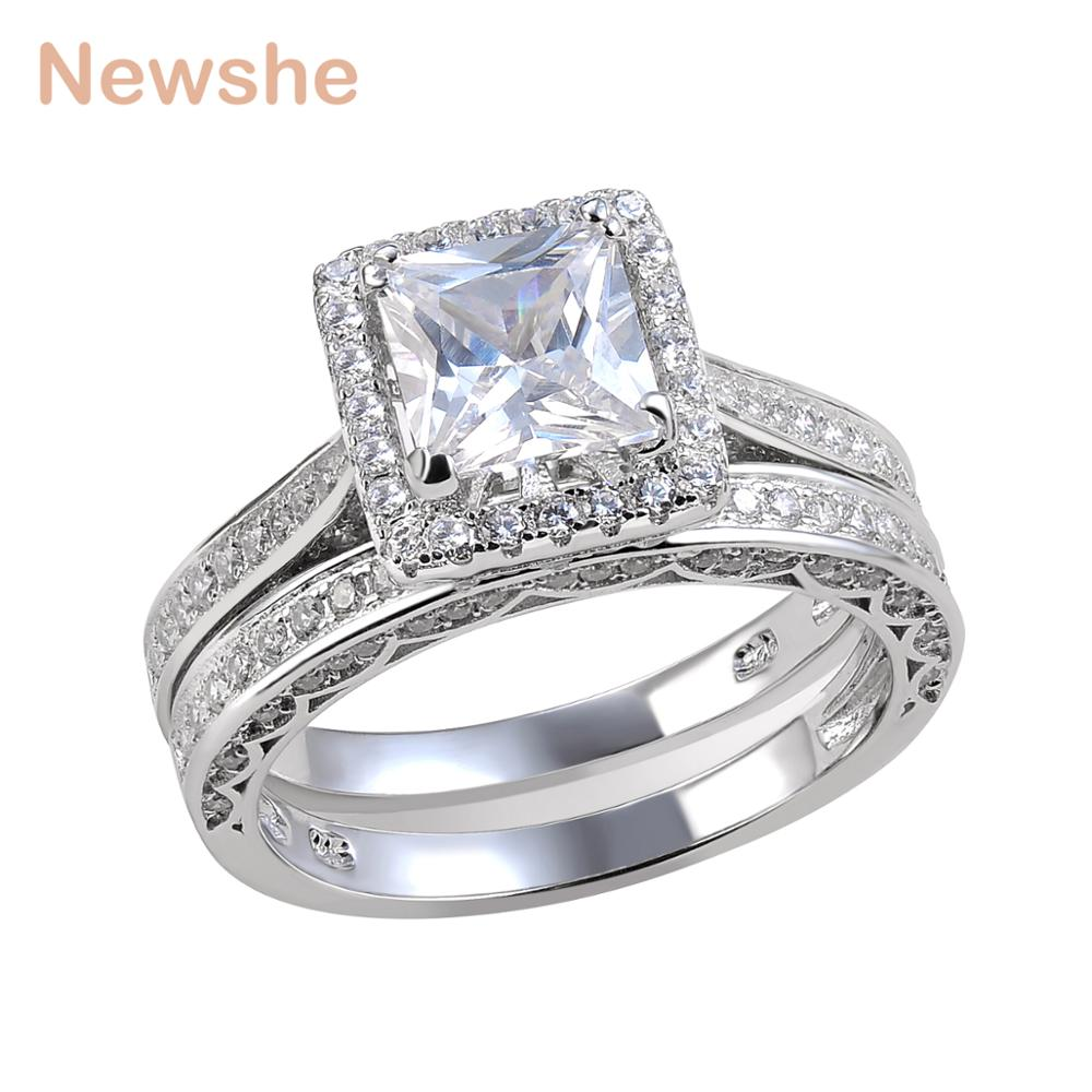 Newshe Princess Cut CZ Wedding Ring Set Solid 925 Sterling Silver Engagement Band Fashionable Jewelry For Women Size 5 to 12
