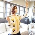 2016 Nueva Otoño invierno prendas de punto suéter de las mujeres triángulo cálidos suéteres Ocasionales femeninos que basan las señoras suéter Beige dulce pullover