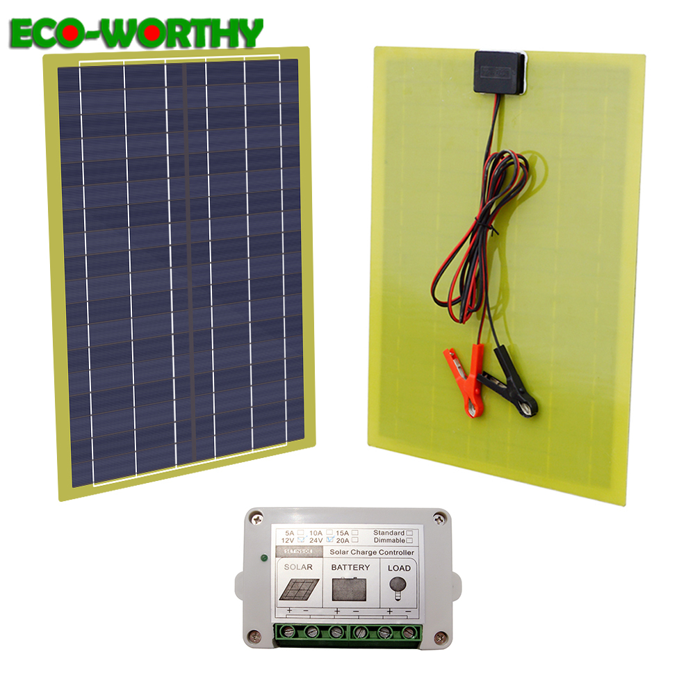2018 New 12V 20 Watts Portable Car Power Solar Panel With 10A Controller Charger For RV
