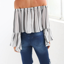 2018 Fashion Stripe Women White Blouses Summer Flare Sleeve Pullover Blouse Shirt Off Shoulder Female Cool Blouse Blusas 50