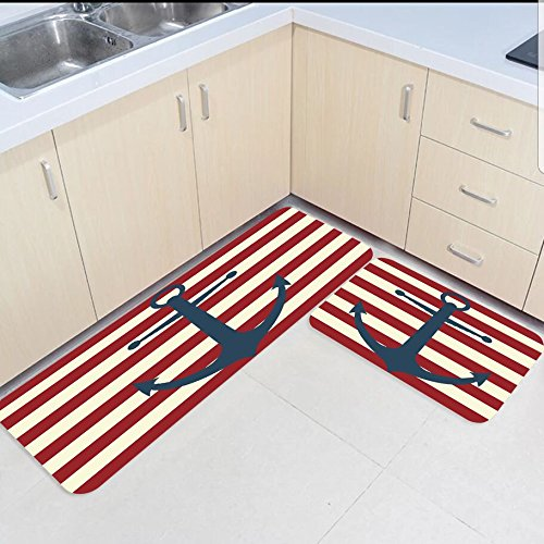 2 Piece Kitchen Mats And Rugs Set Antique Look Red White Nautical Anchor Home Deocr Non Skid Area Runner Doormats Carpet
