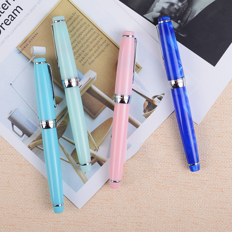 Delike Newmoon-2 Fashion Elegant Extra Fine Fountain Pen Silver Clip 0.38mm Financial Pens with a Gift Box 4 Colors for Choose 9901 fine financia pen student pen art fountain pen 0 38 0 5 0 8mm optional gift box set