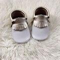 Blanco Bebé Moccs zapatos Genuinos Niño de Cuero Mocasines con Franjas De Oro