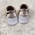 White Baby Moccasins with Gold Fringe Genuine Leather Toddler Moccs
