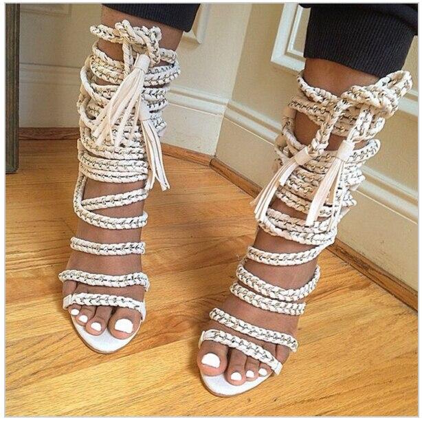 2b320b64a60 Grande taille été chaîne corde à lanières talons hauts sandales femmes  découpes gladiateur sandale bottes bout ouvert chaussures femme cuir  Sandles dans ...