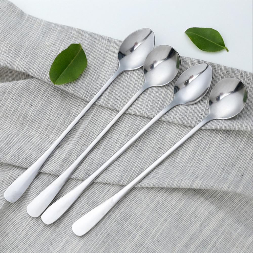 5 Pcs Long Handle Spoon Stainless Steel Tea Coffee Cocktail Ice Cream Spoons Cutlery For Bar Home Party