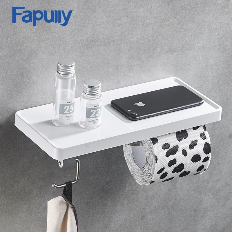 Fapully Wall Mounted Toilet Paper Holder Stainless Steel Single Rolls Paper Stand Wall Holder Bathroom White ABS Shelf G163-04WN
