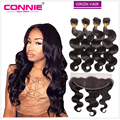 Ear To Ear Lace Frontal Closure With Bundles Malaysian Body Wave Virgin Hair Full Frontal Lace Closure 7A 4 Bundles Body Wave