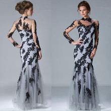 2015 Gorgeous Gray Tulle Black Appliqued Lace Mermaid Evening Dresses High Neck Long Sleeve Floor-length Formal Gowns