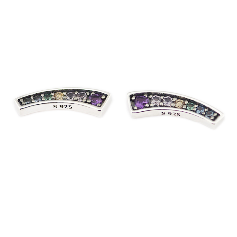 Multi-Color CZ Arches Stud Earring 925 Sterling Silver Earrings For Women Wedding Party Fine Jewelry Bijoux