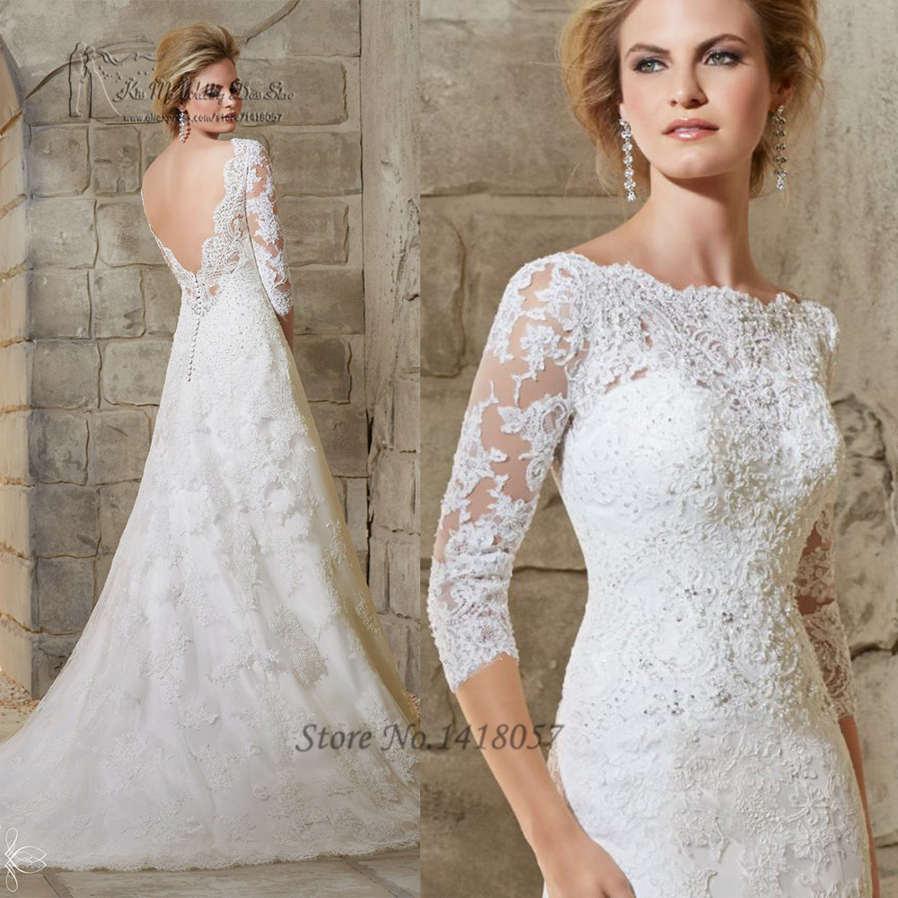 Online Shop Elegant Lace Backless Wedding Dresses Beaded A Line ...