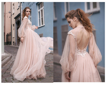 SoDigne Pink Wedding Dress 2019 Puff Sleeves A Line Bridal Vestidos de novi V-Neck Romantic Floor Length Gowns