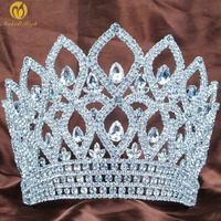 World Beauty Pageant Large 6.5 Tiara Diadem Hair Crown Austrian Rhinestone Crystal Headband Wedding Bridal Party Costumes