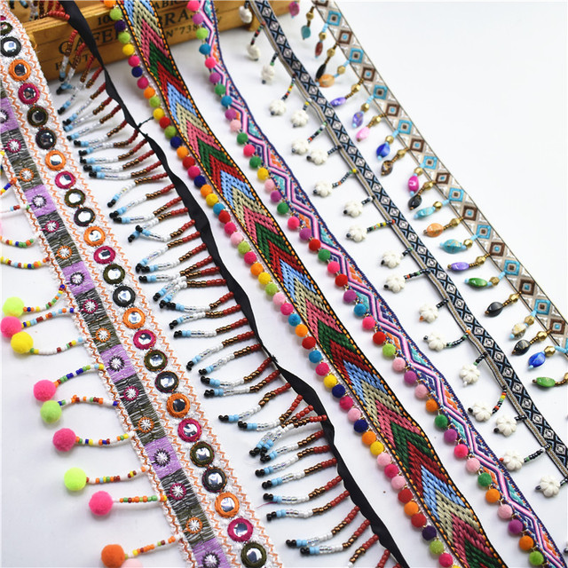 1 yardas/lote seda borla flecos ajuste borla encaje cinta pompón ajuste tela costura ropa zapatos bolso materiales accesorio borlas