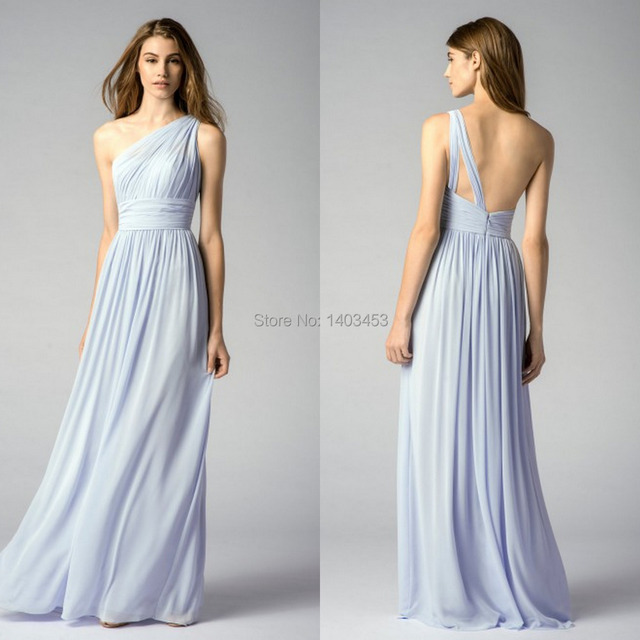 Vestido De Fiesta 2017 Pastel Light Blue Chiffon One Shoulder Sleeveless Long Bridesmaid Dress Wedding Guest