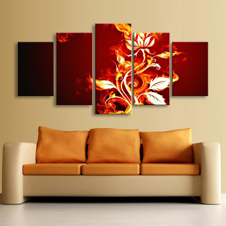 HD печатные современные холст картины Настенные 5 Панель огненные цветы Книги по искусству модульная плакат рамки картинки украшения дома Г...