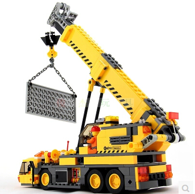 City building Crane Building Blocks Sets Model Kazi 8045 KAIYU 380pcs BULLDOZER Educational DIY Bricks Toys For Children gift new original kazi 6409 city truck model building blocks sets 163pcs lot deformation car bricks toys christmas gift toy sa614