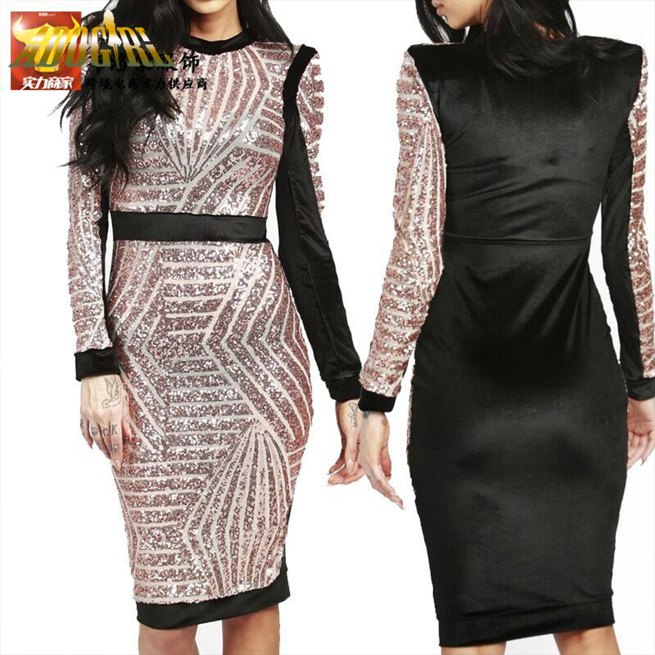 Adogirl 2016 Rose Gold Sequin Bandage Dress Sexy Long Sleeve Office Patchwork Pencil Midi Dress Sexy Club Night Bodycon Dresses