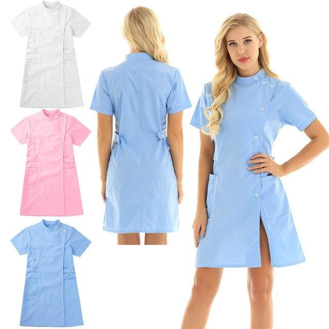 Womens Dress Korte Mouwen Opstaande Kraag Schuine Knop Front Jas Vrouwelijke Femme Uniform Jurk